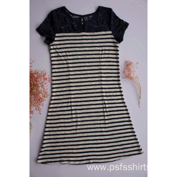 Knitted Fabric Striped Patchwork Dress